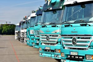 Row of lorries ready to be inspected